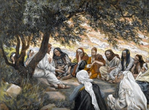 Disciples listen to Jesus-by James Tissot wikipedia public domain