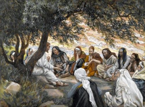 Disciples listen to Jesus-by James Tissot wikipedia public domain
