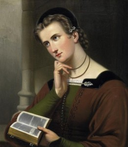 http://commons.wikimedia.org/wiki/File:Braet_von_%C3%9Cberfeldt_woman_with_bible_1866.jpg