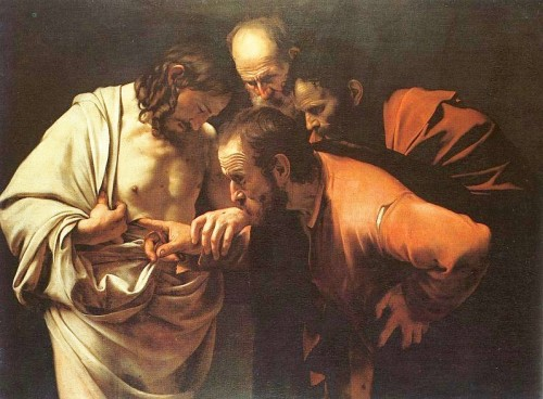 http://en.wikipedia.org/wiki/File:Caravaggio_-_The_Incredulity_of_Saint_Thomas.jpg