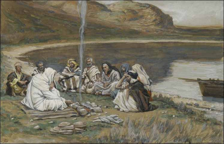 """But when the morning was now come, Jesus stood on the shore: but the disciples knew not that it was Jesus."" John 21:4. dans immagini sacre tissot-meal-of-our-lord-and-the-apostles-public-domain"