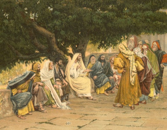 Jesus Speaking to Sadducees & Pharisees by James Tissot www.catholic-resources.org US public domain