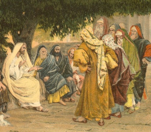 Jesus Speaking to Sadducees Pharisees - by James Tissot - www.catholicresources.org - US public domain
