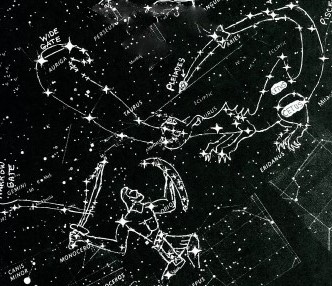 Revelation 12 star-chart: Orion Fights Dragon